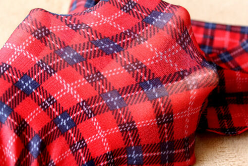 Red Tartan Opaque Silky Over Knee Hold Up Stockings//Socks 1 Pair