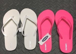 4abb8c55dad 2 Pairs~OLD NAVY Flip Flops KIDS Size 3 4~NWT~WHITE   HOT PINK