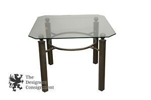 Vintage Turned Wrought Iron Coffee Accent Table Cut Glass Top