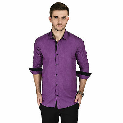 Kaya Deals Men's Casual Purple Shirt (KMS0048-PURPLE)