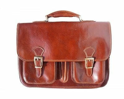 Unter Der Voraussetzung Italian Handmade Leather Briefcase With Front Pockets 7611