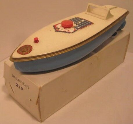 Beautiful antique Tin Wind Up Toy Zip Vitesse Bateau 10  Sutcliffe W BOX 1940s-1950s