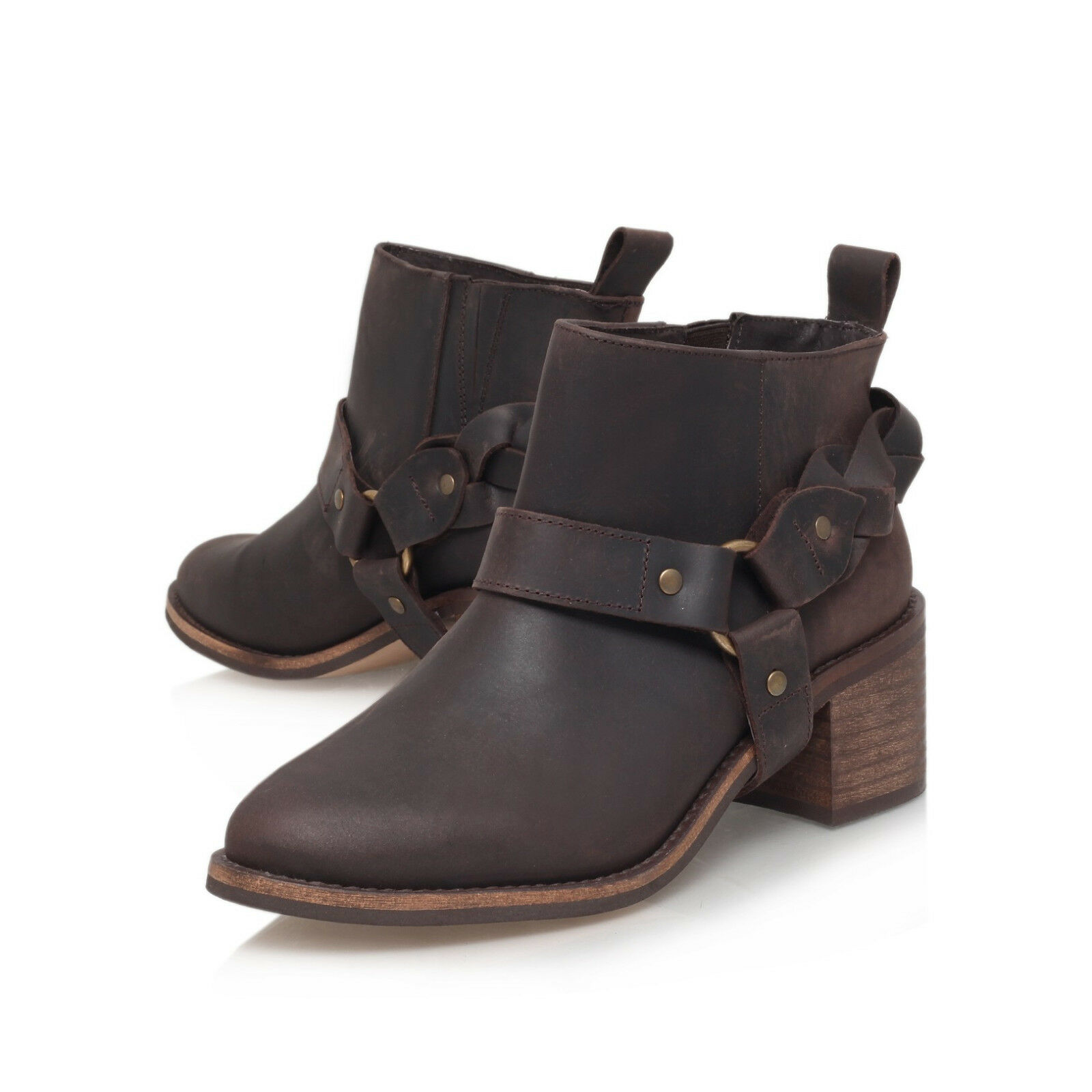 Grandes zapatos con descuento Y 160 NEW KG KURT GEIGER SIENNA BROWN LEATHER SHORT ANKLE RIDING BOOTS 8 10 41
