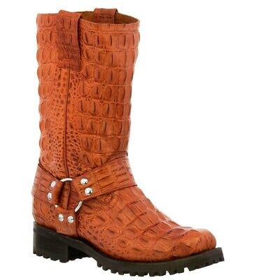 Mens Black Biker Boots Crocodile Tail Pattern Leather Cowboy Motorcycle J Toe