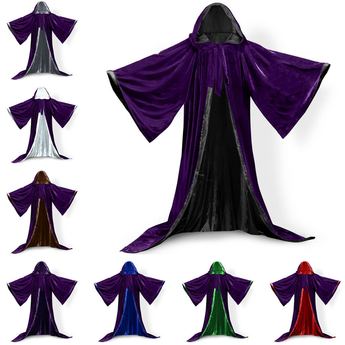 Long Sleeves Velvet Wizard Robe with Satin Lined Hood and Sl