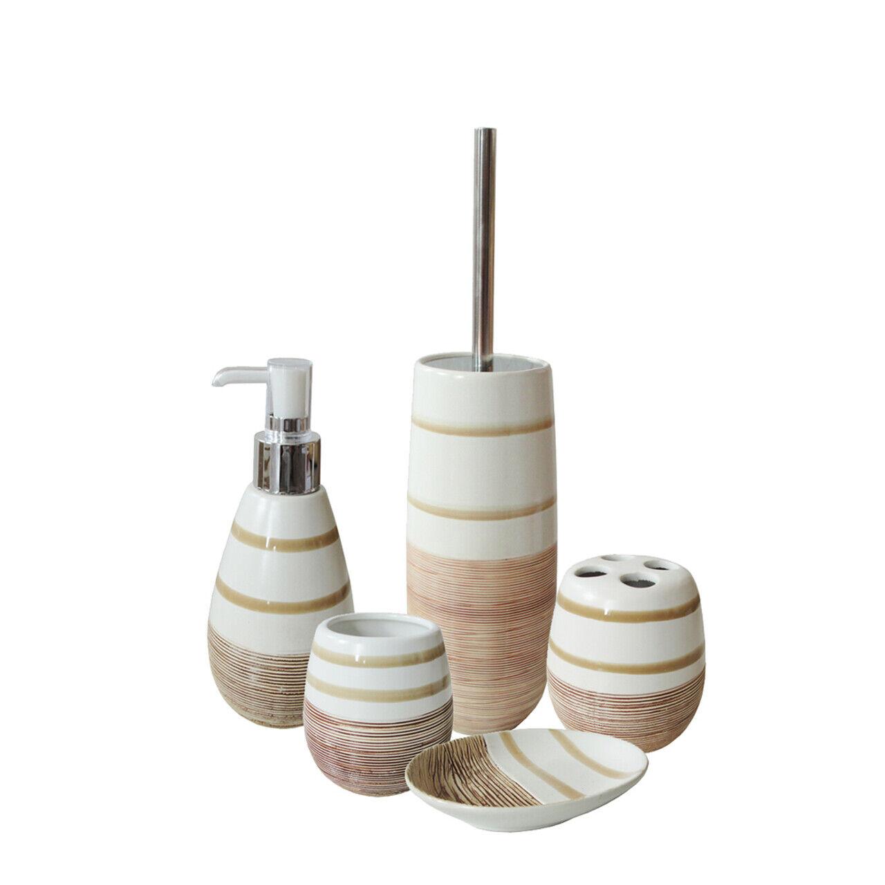 5 tlg. Beiges Badset OPAL - Seifenspender Becher Klobürste Seifenschale | Große Auswahl