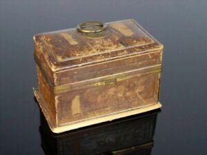 antiker Schmuck-kasten Nähkasten Schatulle Truhe - Holz Leder Messing - um 1820