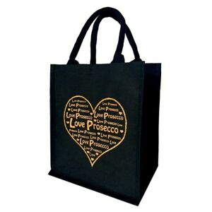 Details About Love Prosecco Ping Bag 6 Bottle Wine Carrier Black With Gold Glitter