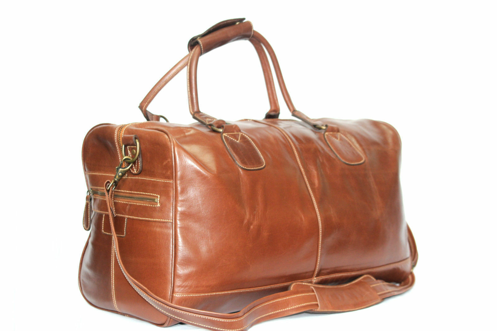 Grand cheshnut braun Vachette Duffle, Holdall, voyage, gym weekend Sac en cuir