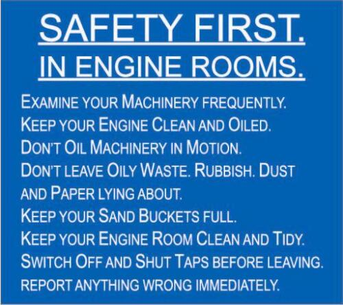 SAFETY FIRST IN ENGINE ROOMS HEALTH /& SAFETY SIGN METAL RAILWAY SIGN