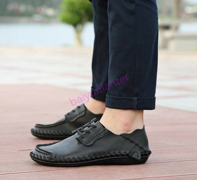 Mens PU Leather Soft Lace Up Flats Casual British Hand Made SHoes Comfy Korean S