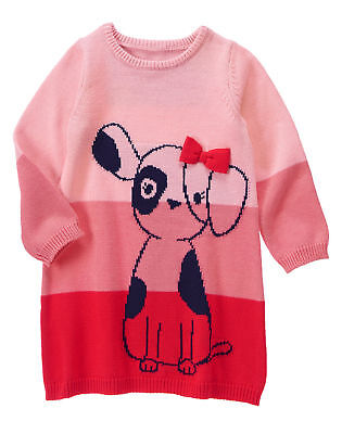 New Gymboree Girls Coral Owl Colorblock Sweater Dress NWT 24m 3T Meadow Walk