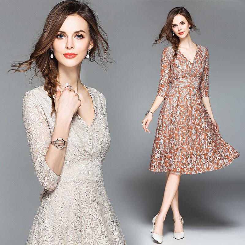 Frühling Damen Temperament V-Ausschnitt A-Linien-Kleid lace Hohl Schlank Kleider