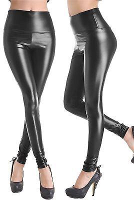 Ladies High Waist Wet Look Faux Leather Leggings Black Shiny Stretchy Tight Pant Um 50 Prozent Reduziert