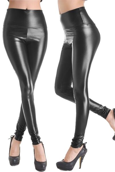 246a6931d9f3 Ladies High Waist Wet Look Faux Leather Leggings Black Shiny Stretchy Tight  Pant. Hover to zoom
