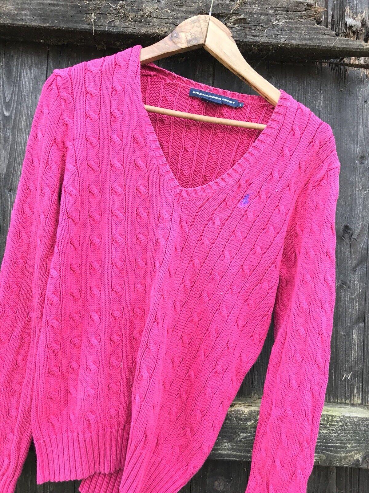 Ralph Lauren Polo Sport Ladies Cable Knit Jumper Size Medium.
