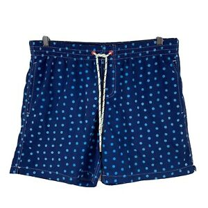 Gazman-Mens-Swim-Shorts-Size-Medium-Blue-Polka-Dot-Elastic-Waist-Drawstring