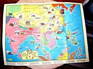 VINTAGE CARTOON MAP ASIA BORNEO CEYLON CHINA TIBET DRAGON TALISMAN on