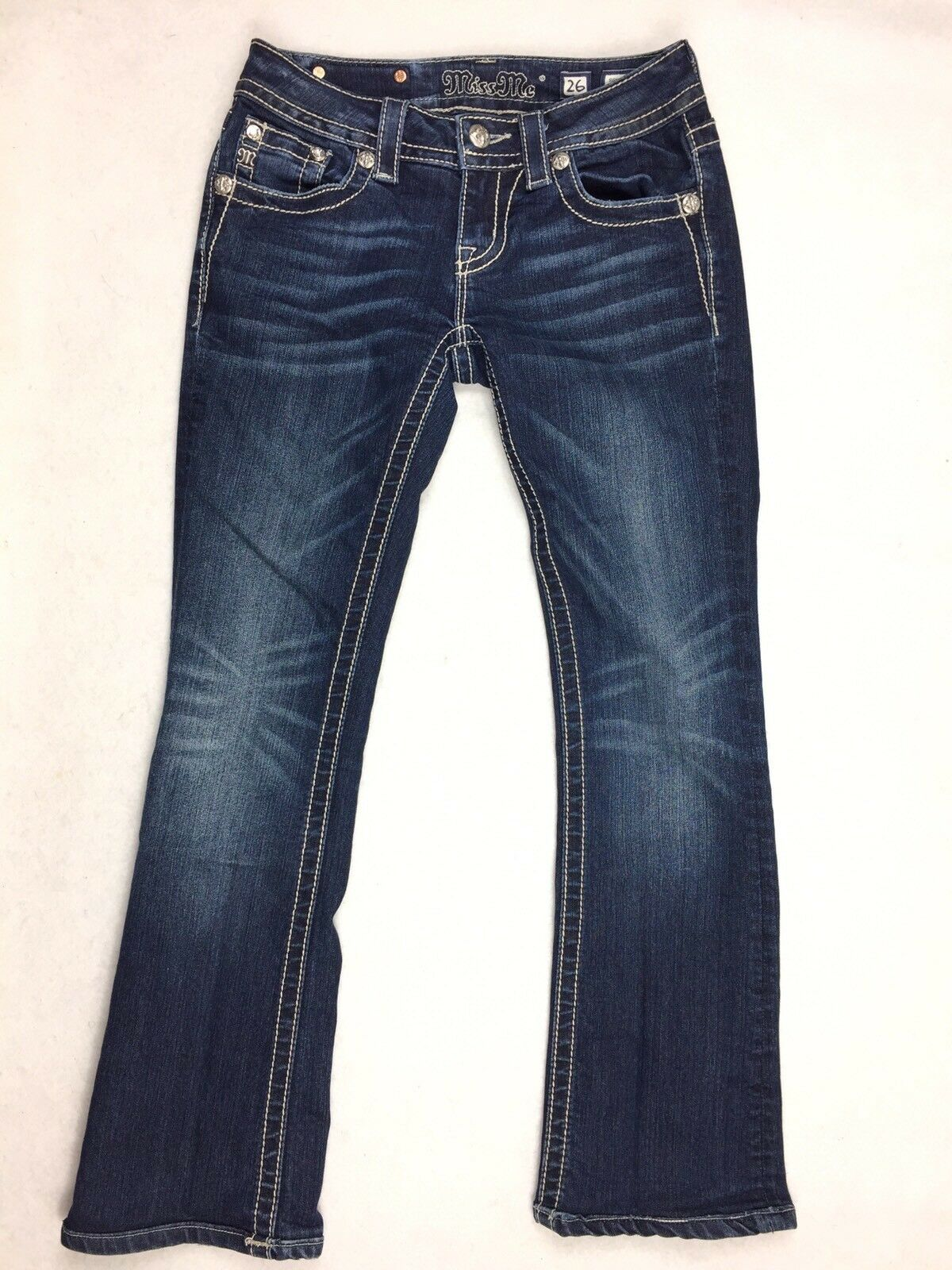 MISS ME Women's Jeans Peace Signature Boot Cut Denim Jeans Size 26x28