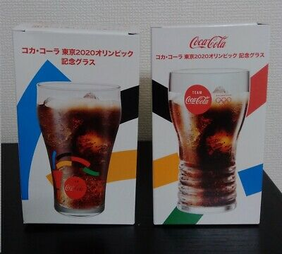 Coke Coca Cola Glass Tokyo 2020 Olympic Memorial Set of 2 From JAPAN