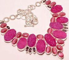 "Hot Pink Titanium Druzy & Cat's Eye,Amethyst Beautiful .925 Silver Necklace 18"""