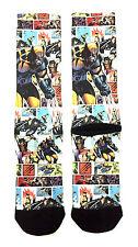 MARVEL COMICS X-MEN WOLVERINE COMIC PANEL SUBLIMATED ALL OVER PRINT CREW SOCKS