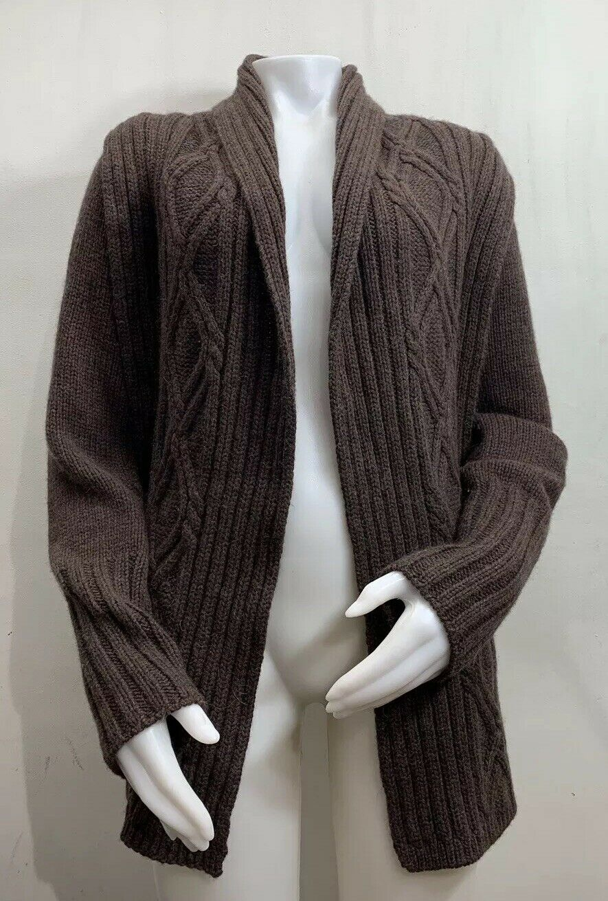 Inis Meain Wool Alpaca Cashmere Brown Knit Open F… - image 1