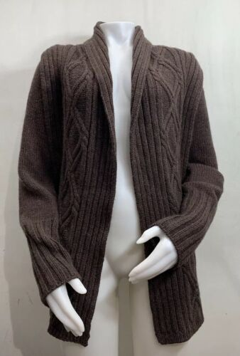 Inis Meain Wool Alpaca Cashmere Brown Knit Open Fr