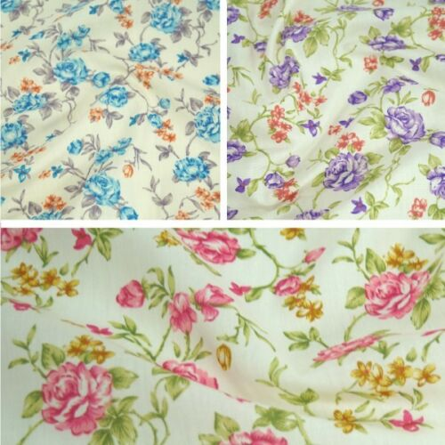 Polycotton Fabric Roses Vines Floral Flowers Material
