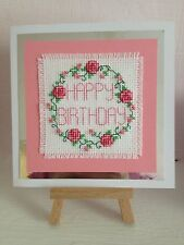 Completed Cross Stitch Card (Happy Birthday)