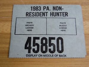 Pennsylvania 1983 Non-Resident Hunting License - PA hunting