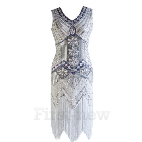 1920/'s Flapper Party Dress Great Gatsby Vintage Sequin Fringe Dresses