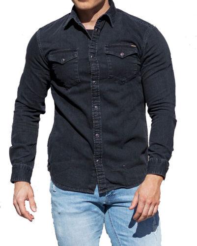 Jack /& Jones Mens Long Sleeves Slim Stretch Fit Black Denim Shirt S M L XL 2XL