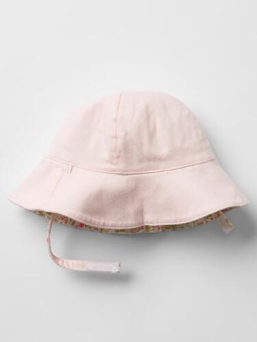 GAP bébé fille taille 6-12 mois Rose Blanc Vert Réversible Floral Soleil Plage Chapeau