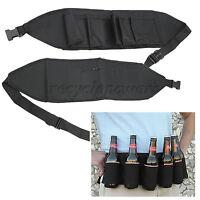 Portable 6 Pack Beer Soda Can Outdoor Drink Bag Party Holder Belt Holster black