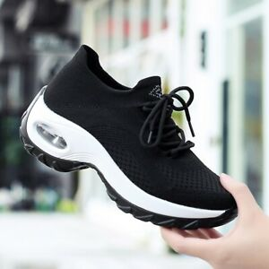 Womens-Walking-Air-Cushion-Sock-Sneakers-Tennis-Mesh-Slip-On-Comfort-Gym-Shoes