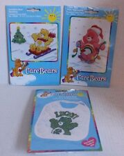 Care Bears Counted Cross Stitch Kits Lot of 3 Tree Lights Sledding Good Luck Bib