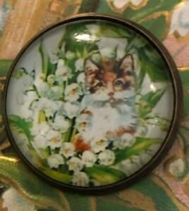 Dome-Glass-Button-Sweetest-Kitty-Cat-Peeking-Out-From-Lily-Valley-Flowers