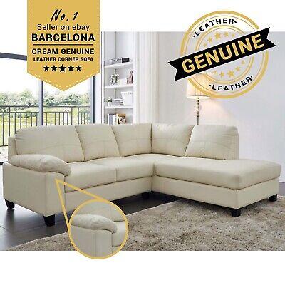 BARCELONA Cream Genuine Real Leather Corner Sofa | eBay
