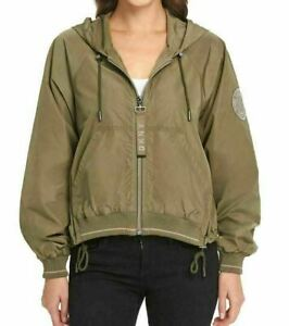 NWT! DKNY Ladies Cropped Windbreaker Jacket Camo Detail X-Large 1369410