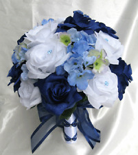 Wedding Bouquet Bridal Silk flowers NAVY BLUE WHITE PERIWINKLE 17pc bouquets
