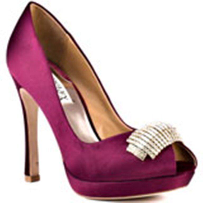 NIB Badgley Mischka JULIA bridal wedding pump heels open toe WINE shoes 7,5