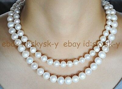 """white Seawater Round pearl necklace 18/"""" Natural 9-10mm AAA"""