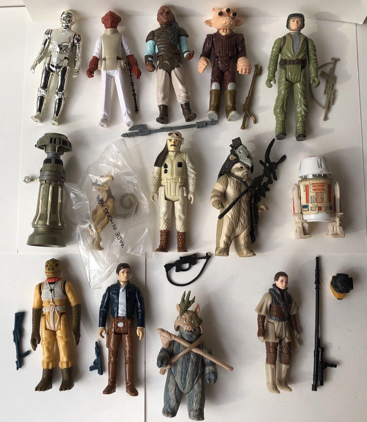 De 1978 a 1983 Vintage Estrella Wars Complete figuras de acción Todo Original 14 diferentes