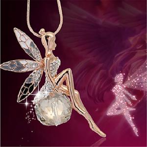 Donne-splendide-cristallo-Fata-Angel-Ali-Ciondolo-Collana-catena-lunga-maglione-Regalo