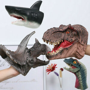Realistic Dinosaur Shark Hand Puppet Soft Plastic Mouth Deformation Children Toy