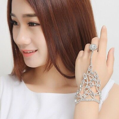 Bride Delicate Hand Chain With Finger Ring Crystal Bracelet Bangle Wedding Party