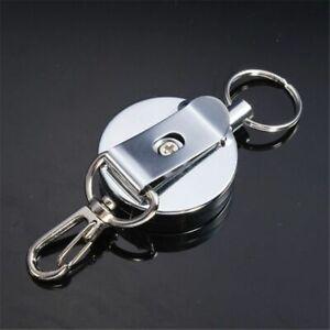 Keyring-Holder-Steel-Recoil-Chain-Clip-4cm-Full-Metal-Belt-Retractable-Hook-Tool