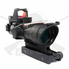 Black Tactical 4x32 Red Fiber Optic BDC Reticle Rifle Scope with Red Dot Sight