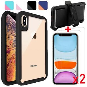 For iPhone X Xs Max XR Case Shockproof Armor Hard Cover+Tempered Glass/Belt Clip
